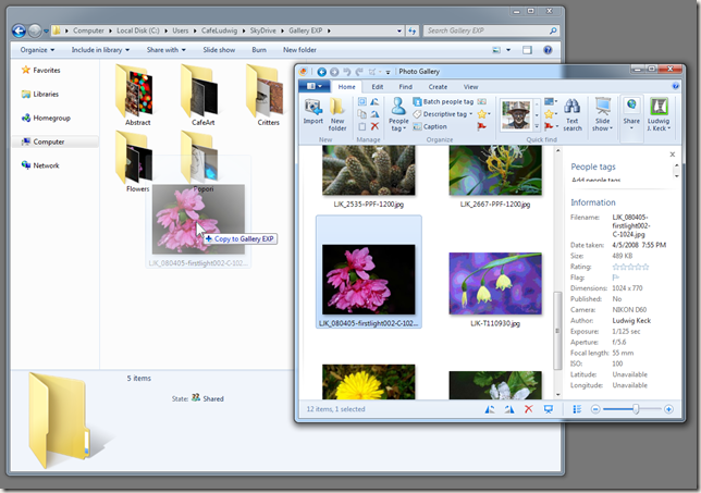 Copy pictures to SkyDrive folder
